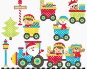christmas clipart train clip art santa - Christmas Train Digital Clipart