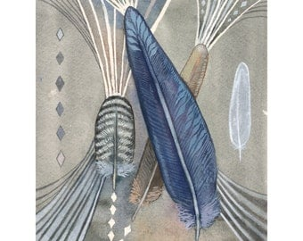 """Feather Art - Print of Original Watercolor Painting - Tribal Wall Art - Rustic Home Decor - 8 1/2"""" x 11"""""""