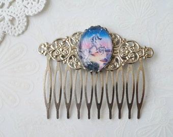Silver Filigree Unicorn Haircomb
