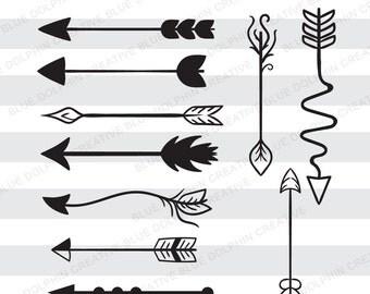 Arrows SVG, DXF, PNG / tribal / boho arrow / Cricut, Silhouette cut files / instant download / design element / decorative / clip art