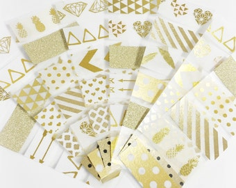 48 Individual Samples Set of 8 Gold Foil Sample Sheets of Washi Tape Washi Samples Erin Condron Planner ECLP Size Cut Sample