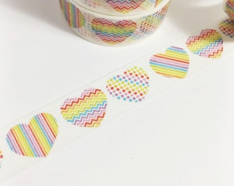 Rainbow Hearts Chevron Hearts Striped Hearts Polka Dot Hearts Rainbows Washi Tape 11 yards 10 meters 15mm