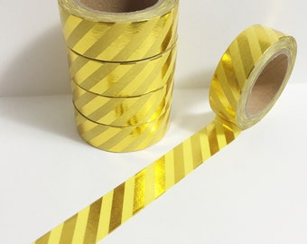 SALE Bright Shiny Metallic Gold Foil Stripes on Pastel Yellow Washi Tape 11 yards 10 meters 15mm