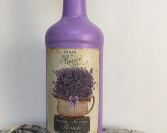 Hand Painted Vintage Lavender Decoupage Altered Bottle, Vase, Fragrance Diffuser, Home Decor