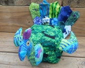Peacock box lavender rice weight wrist rest patchwork art doll shelf sitter colorful bird OOAK
