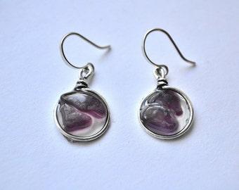 Plum Purple Genuine Sea Glass Silver Circle Resin Drop Mosaic Earrings