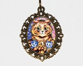 Mother Cat Necklace, Mom Cat, Kittens, Mum, Cat Jewelry, Oval Pendant