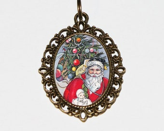 Santa Claus Necklace, Christmas Tree Jewelry, Happy Holidays, Bronze Oval Pendant