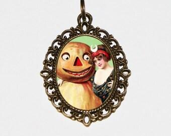 Pumpkin Man Necklace, Burlesque, Halloween Witch Jewelry, Horror, Pumpkin Person, Oddities, Bronze Oval Pendant