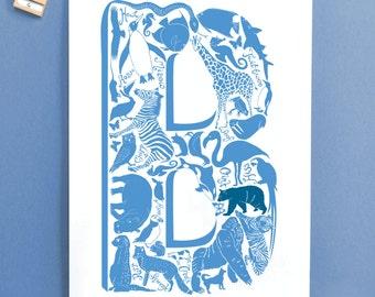 Blue Letter Christening Print