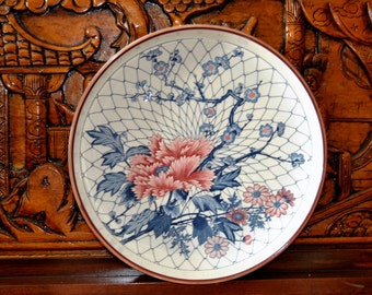 Mino Yaki, Asian Tea Tray, Large Platter, 12 inch, Blue Red, Charger, Floral Collector Vintage China Dinnerware Centerpiece Decorative Plate