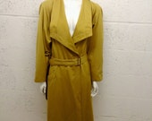 Vintage 70s Mustard Gold Full Length Coat Evening Jacket Wallis 10