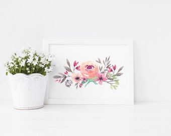 Peony Art Print, art print, pink peony, ideal gift for flower lovers
