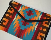 """15"""" Macbook Wool Laptop Bag - turquoise Native American bag handcrafted of Pendleton Wool fabric Macbook Case Rio Rancho electronics cases"""