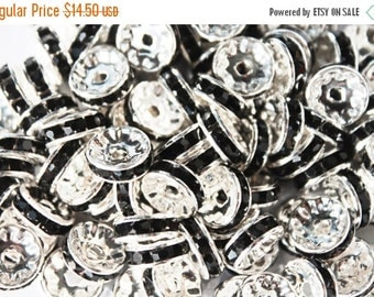 10% off SALE 10mm Silver with Black Rhinestone Rondelle Spacers Basketball Wives Earrings 100pcs