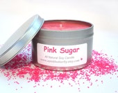 Pink Sugar Soy Candle Scented  - Handmade Natural Soy Wax Candle - 8 oz. Eco-Friendly Recyclable Tin