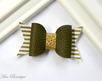 Olive Bow Hair Clip - Baby Hair Bow - Bow Hair Clip - Baby Bow Hair Clip - Faux Leather Bow Hair Clip