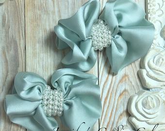 "2PC Mint Satin bow with pearls - 3"" satin bow - headband supplies - DIY Bow - satin bow appliqué - DIY baby headbands"