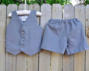 Charcoal Grey Linen Shorts and Vest, Boys linen suit, many colors, Beach Weddings, Beach Portrait, Baptism Suit...6m,12m,2t,3t,4t,5,6,7,8