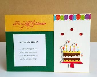 Handmade Christmas card - birthday card, holiday greeting card, birthday card, duel greeting card, 2-in-1 greeting card