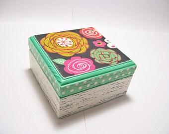 Chalk Flowers Trinket Box Decoupaged