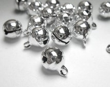 100pcs  6-8-10-12-14-16-18-20-25-34mm Bell Charms, Rhodium Plated Bell Charms Pendants- It Can Make a Sound