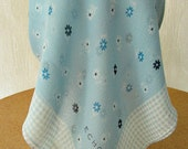 vintage 80s blue semi sheer silk crepe scarf 19 x 19 daisy gingham pattern echo