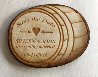 50 Barrel Save the Date Magnets - save the dates for your wedding - engraved in wood
