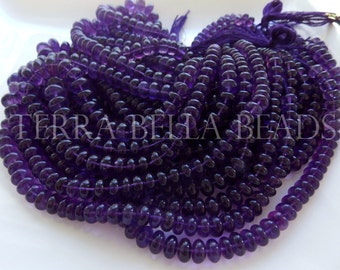 "7"" strand purple AFRICAN AMETHYST smooth gem stone rondelle beads 5mm - 8mm"