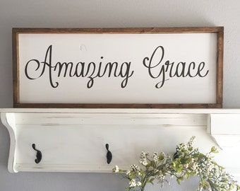 Large Wood Sign - Amazing Grace - Subway Sign - Farmhouse Sign - Framed Sign - Shabby Chic - Home Decor - Inspirational Sign