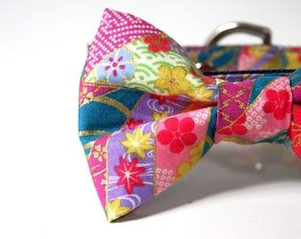 Japanese Sakura Maple kimono Bow Tie Dog Collar - Green blue