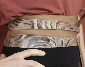 Aquarelle - Vintage Upcycled Neckties Obi Corset Belt Camel Navy
