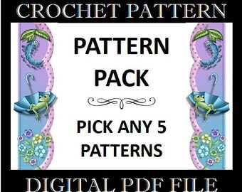 5 Crochet Patterns - Bundle Pack - PDF Files - Permission to Sell Finished Items