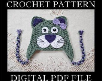 PDF PATTERN - Full Face Kitty Cat Crochet Hat Pattern