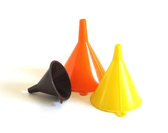 Plastic Funnels 1970s Kitchen Utensils Orange Yellow Brown, Set of 3, Hong Kong