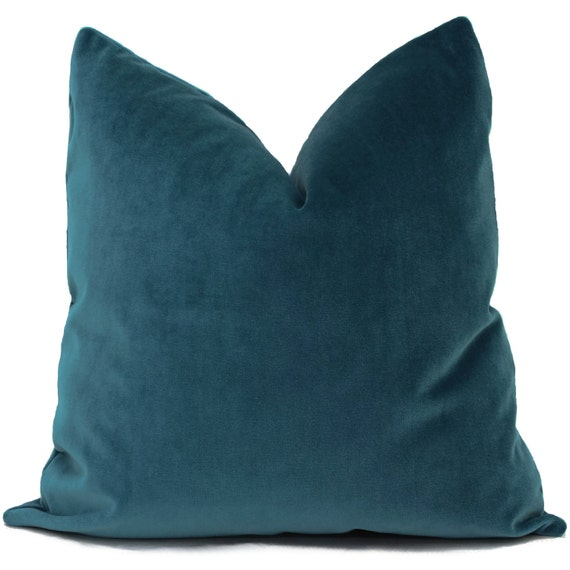 Velvet Pillow Cover Peacock Blue Decorative Pillow Cover
