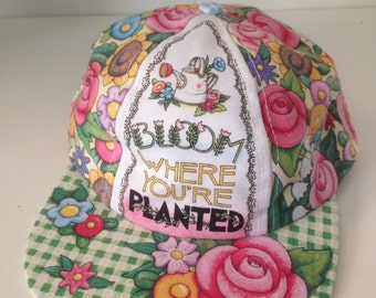 Vintage never worn Mary Engelbreit 'Bloom where you're planted' baseball hat
