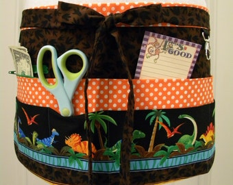 Teacher Aprons-Crafter Vendor Utility Apron-Our Jurassic Friends