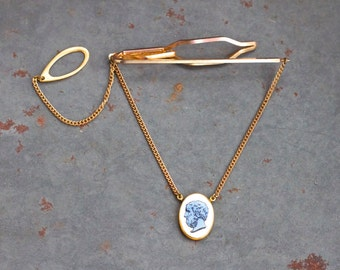 Lambournes Tie Clip with Cameo on a Chain - Made in England - Vintage Men