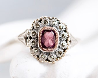 Art Deco purple Ring - Antique Engagement ring of Sterling silver Gold and marcasite - size 10