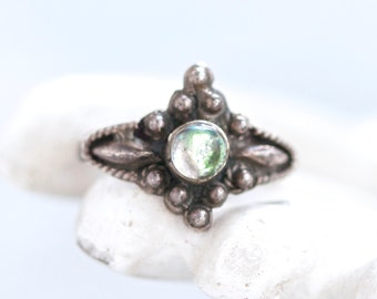 Dark Silver Gothic Ring - Sterling Silver - Ring Size 9