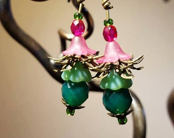 Spring colours Pink and green floral fairy dangles
