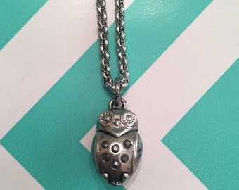 Silver Stainless Steel Hypoallergenic Necklace with Owl Charm