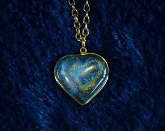 Blue Hologram Heart Necklace