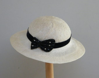 White summer hat for women / off white 30s ladies hat / elegant  wedding hat handmade in Israel