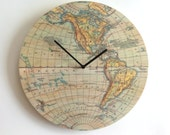 Objectify Vintage Map Plywood Wall Clock - Large