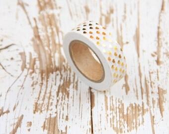 1 Nastro adesivo bianco con cuori dorati (effetto metallizzato) / Washi tape / Japanese Masking Tape
