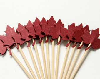 12 Maple Leaf Cupcake Toppers, Fall Party, Food Picks, Thanksgiving Cake Toppers