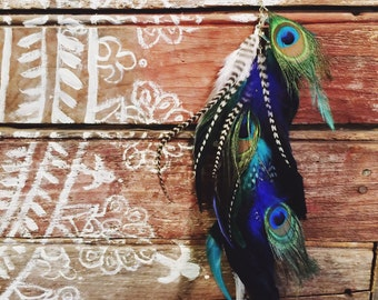 Peacock feather hair clip, long feather hair clip, blue and teal wedding, peacock wedding, hippie hair, hippie hair clip