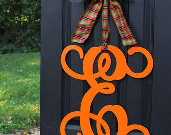 Monogram Wreath - Fall Wreath - Halloween Decoration - Couples Gift